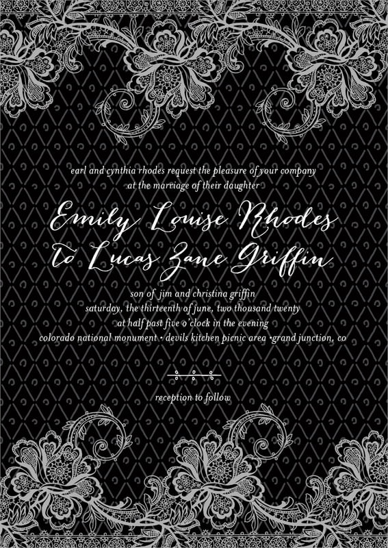 custom invitations - tuxedo - lucky in lace (set of 10)