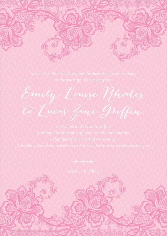 custom invitations - pink - lucky in lace (set of 10)
