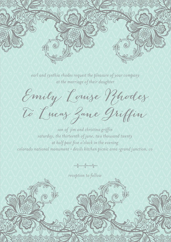 custom invitations - sea glass - lucky in lace (set of 10)