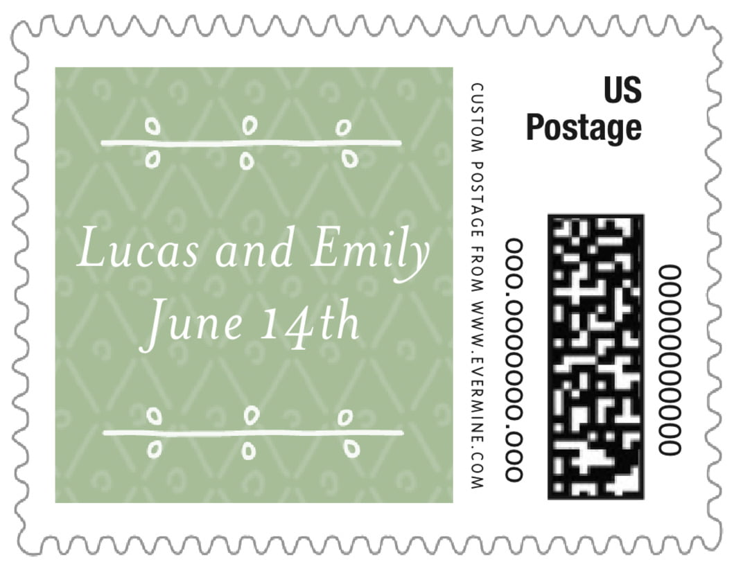 small custom postage stamps - sage - lucky in lace (set of 20)