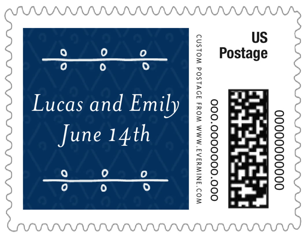 small custom postage stamps - deep blue - lucky in lace (set of 20)