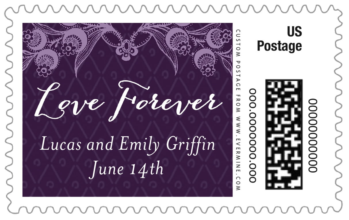 custom large postage stamps - purple - lucky in lace (set of 20)
