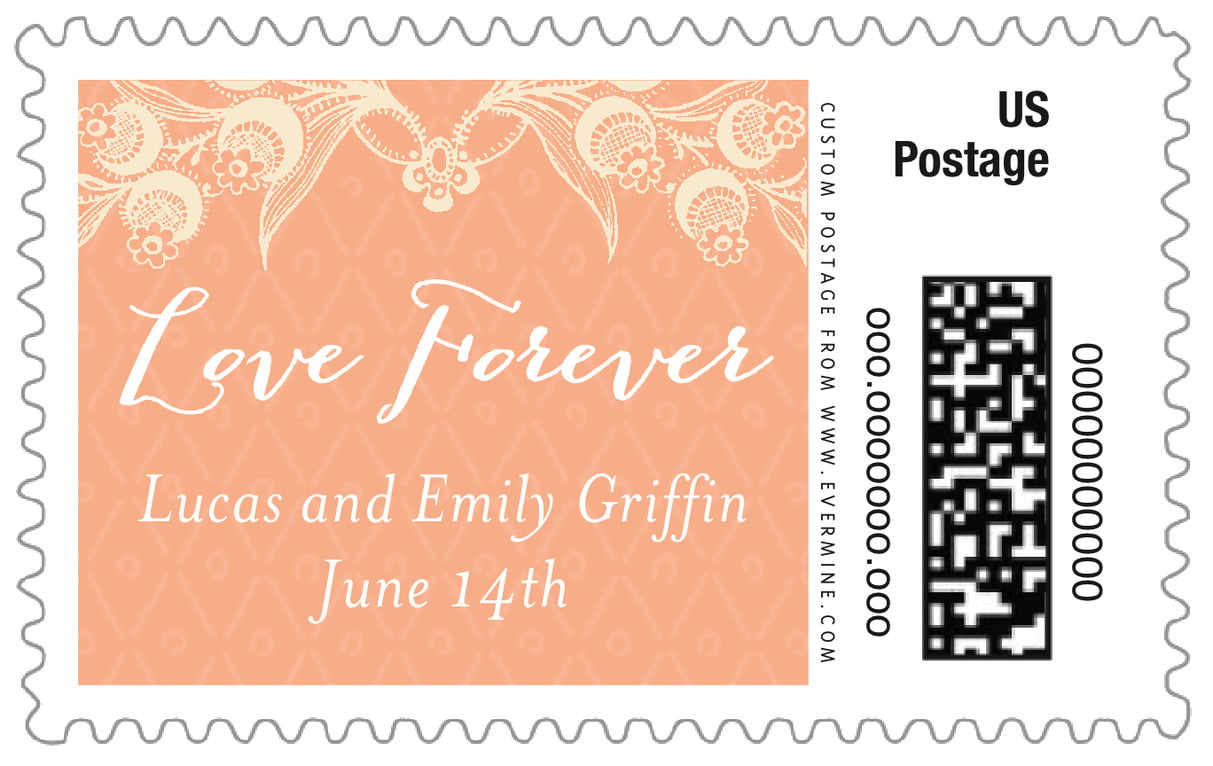 custom large postage stamps - peach - lucky in lace (set of 20)