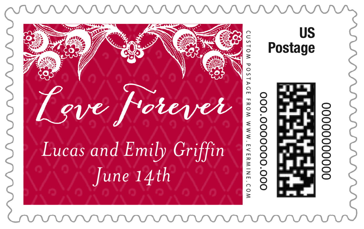 custom large postage stamps - deep red - lucky in lace (set of 20)