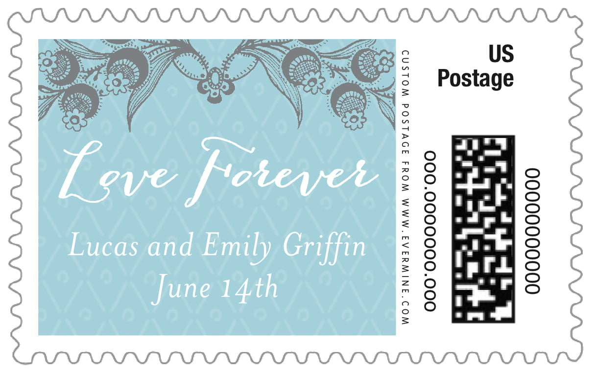 custom large postage stamps - blue - lucky in lace (set of 20)