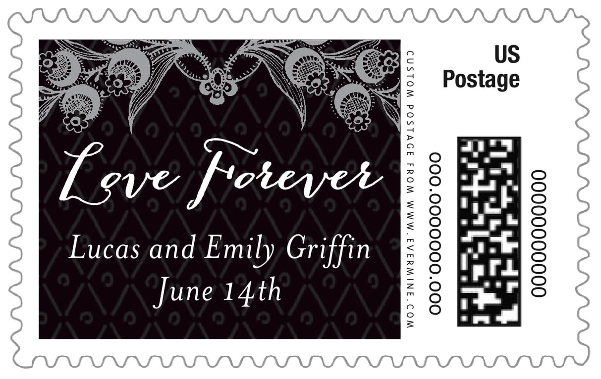 custom large postage stamps - tuxedo - lucky in lace (set of 20)