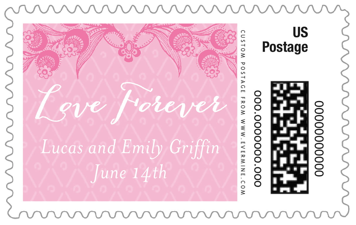 custom large postage stamps - pink - lucky in lace (set of 20)