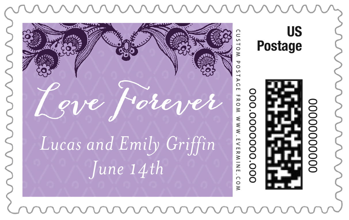 custom large postage stamps - lilac - lucky in lace (set of 20)