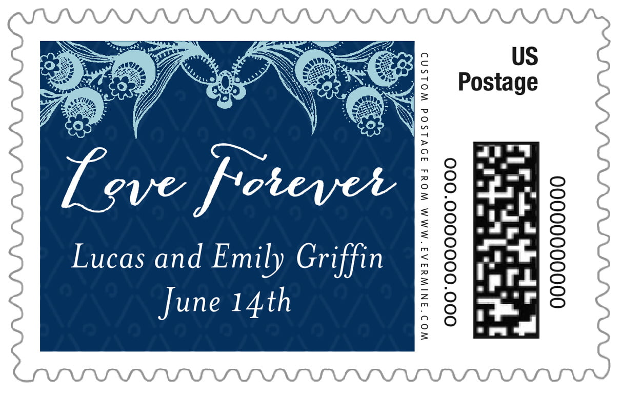 custom large postage stamps - deep blue - lucky in lace (set of 20)