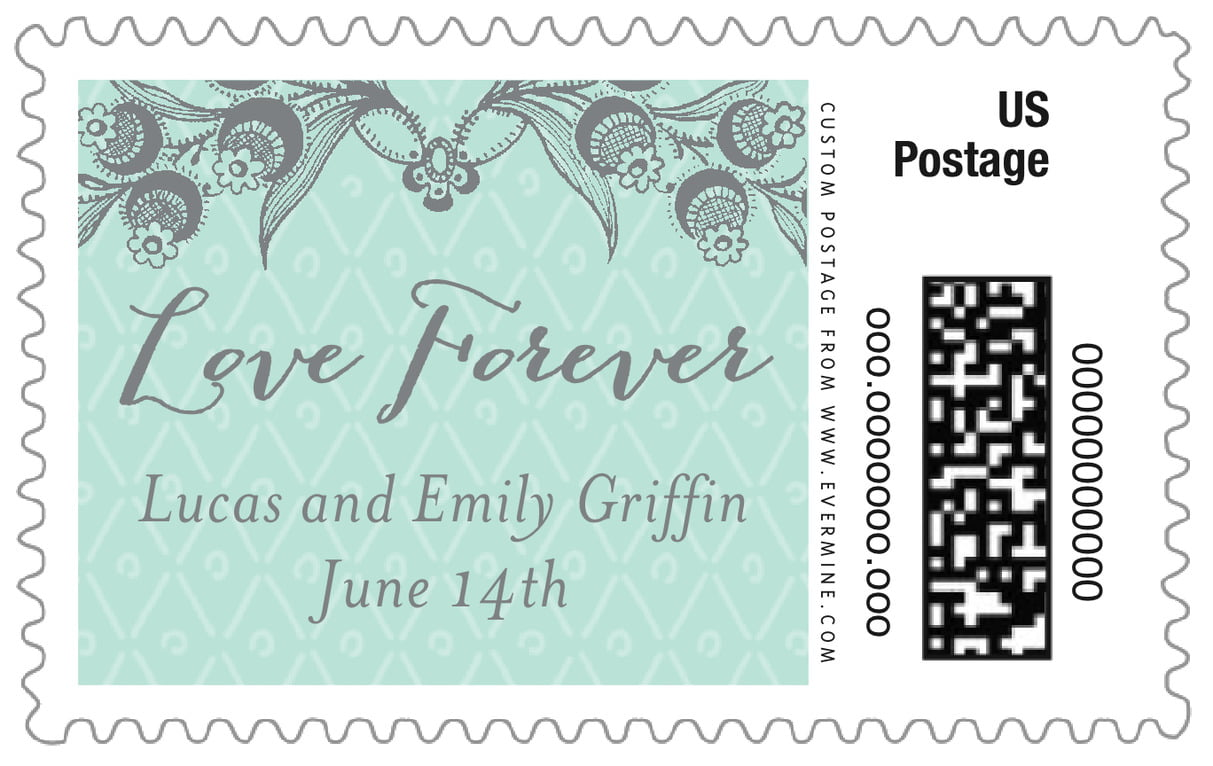 custom large postage stamps - sea glass - lucky in lace (set of 20)