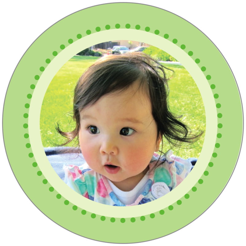 circle photo labels - island green - lulu (set of 20)