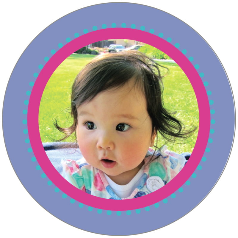 circle photo labels - violet - lulu (set of 20)