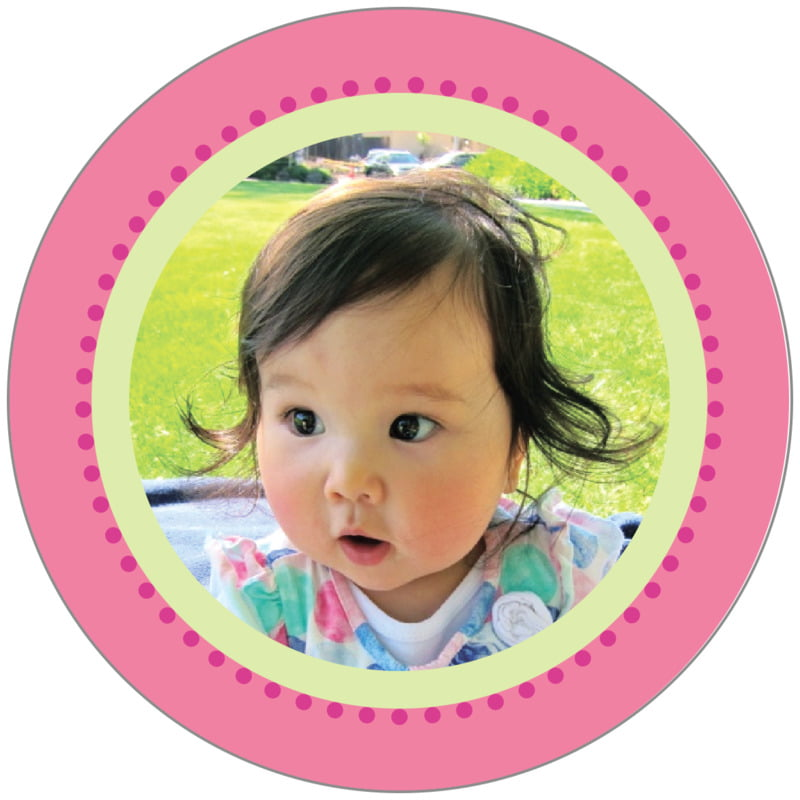 circle photo labels - pink & green - lulu (set of 20)