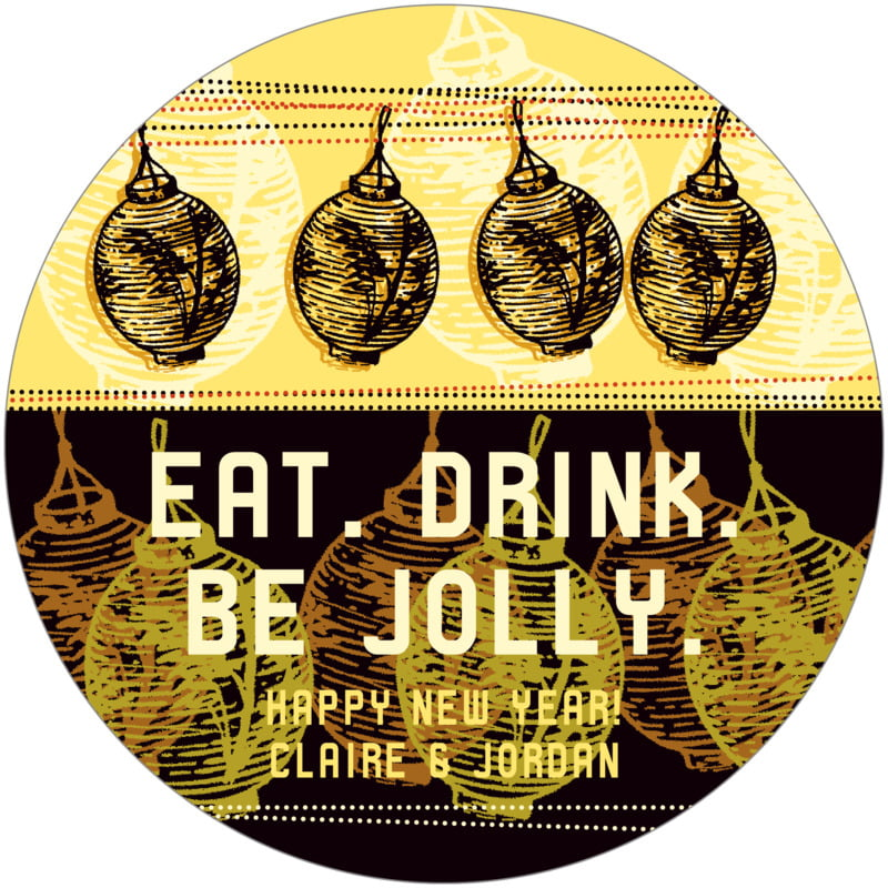 round holiday coasters - harvest - lanterns (set of 12)