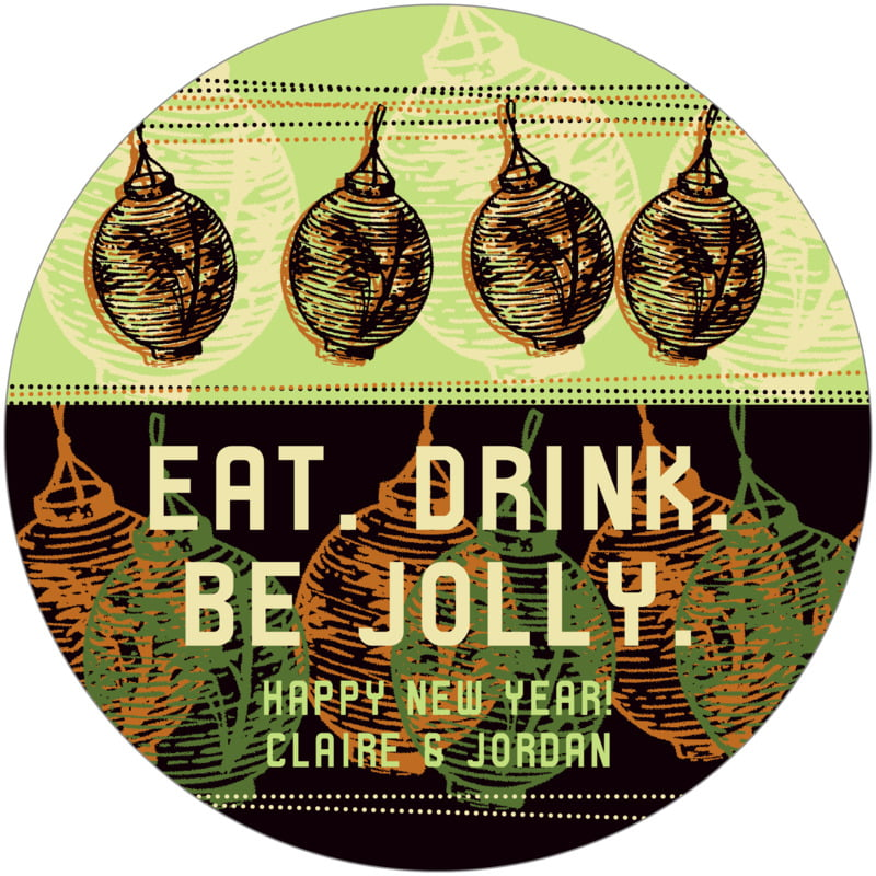 round holiday coasters - apple - lanterns (set of 12)