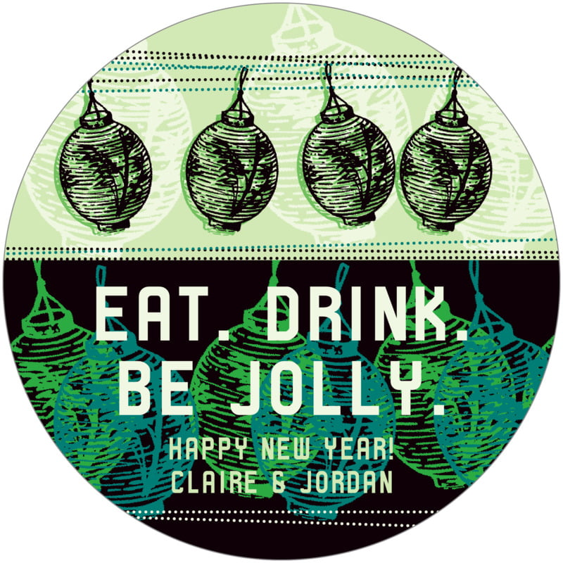 round holiday coasters - jade - lanterns (set of 12)