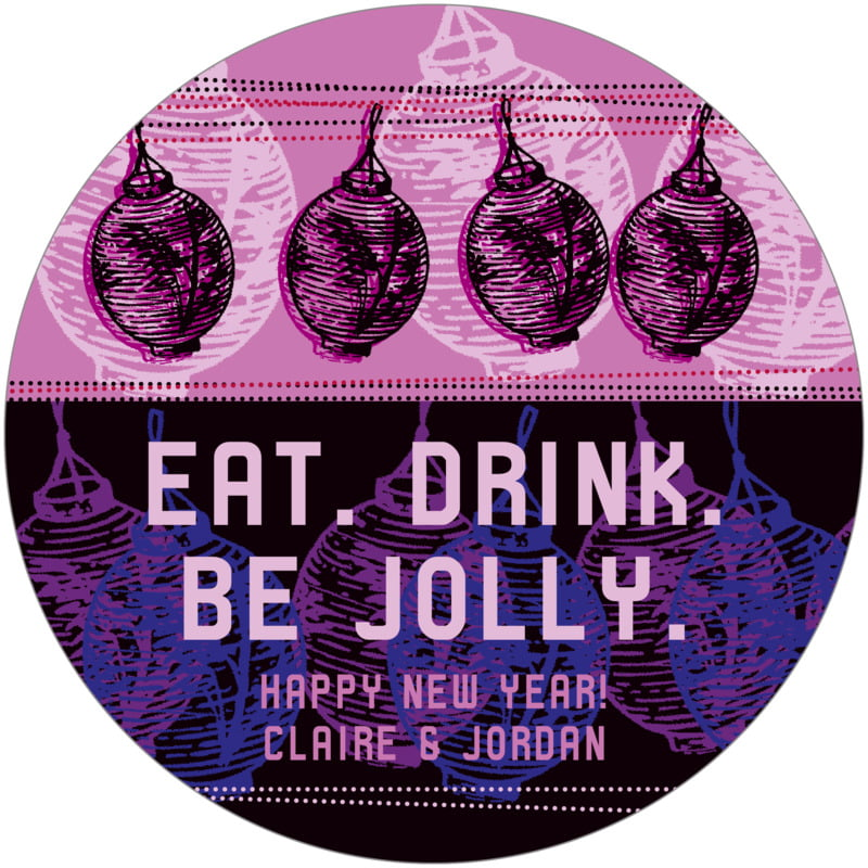 round holiday coasters - plum - lanterns (set of 12)