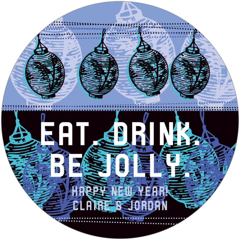 round holiday coasters - twilight - lanterns (set of 12)