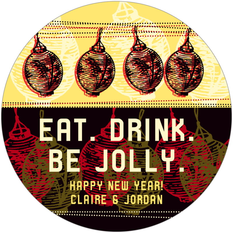 round holiday coasters - fiesta - lanterns (set of 12)
