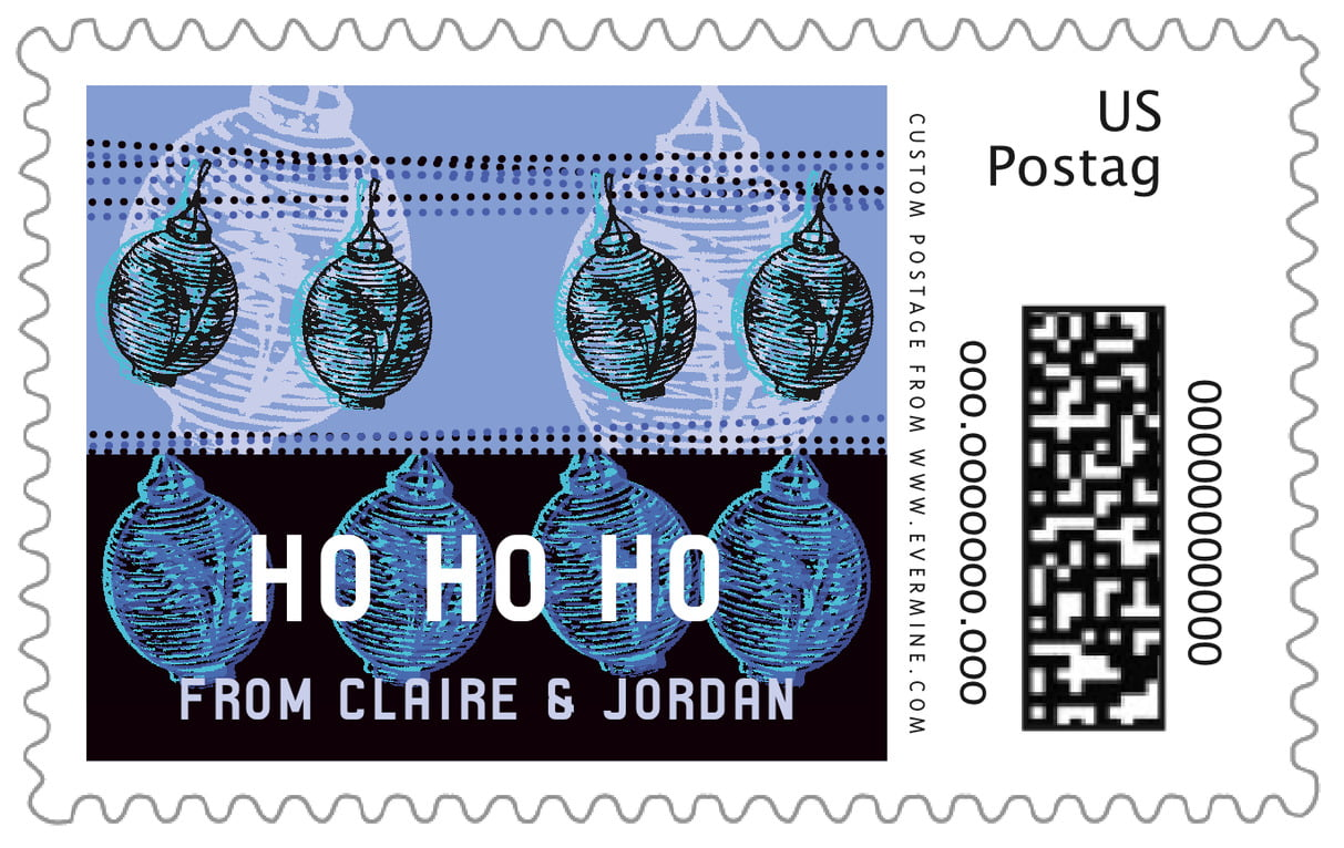 custom large postage stamps - twilight - lanterns (set of 20)