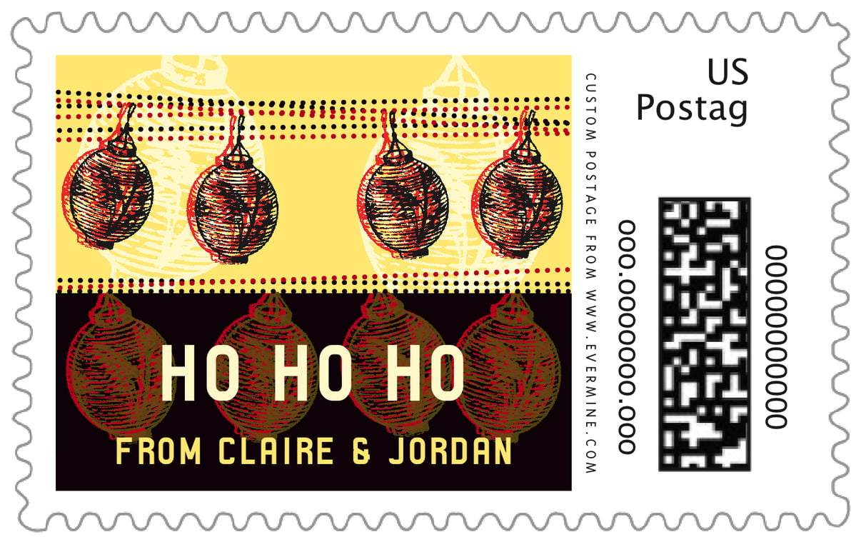 custom large postage stamps - fiesta - lanterns (set of 20)