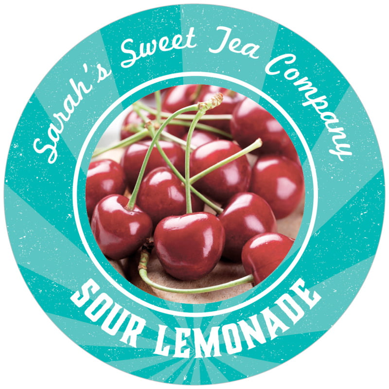 circle food/craft labels - turquoise - lemonade stand (set of 12)