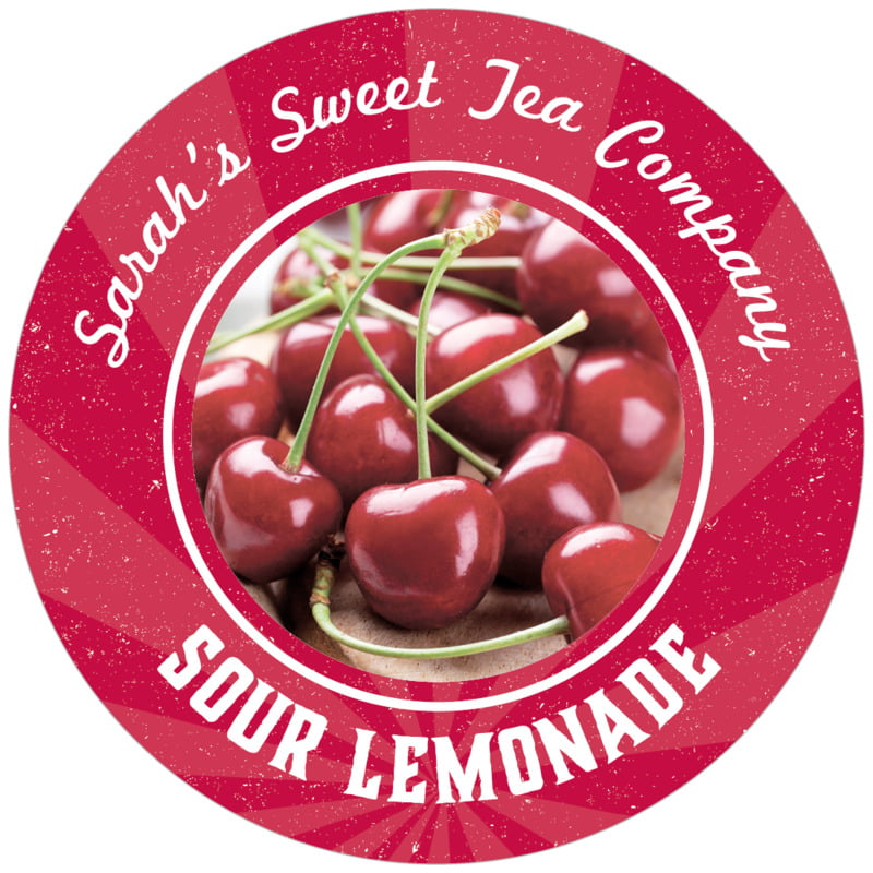 circle food/craft labels - red - lemonade stand (set of 12)