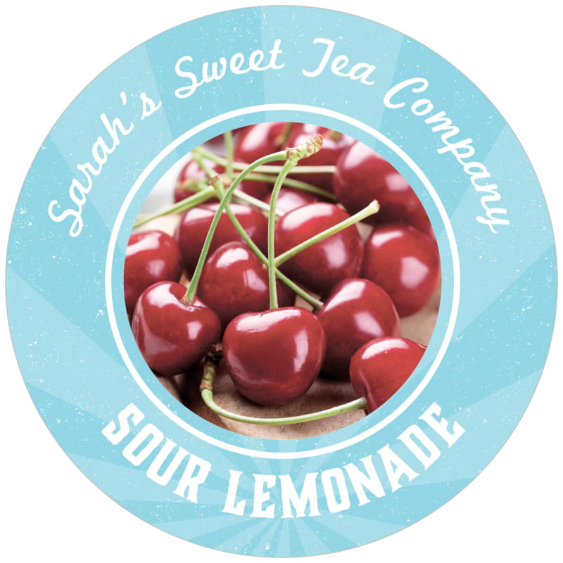 circle food/craft labels - blue - lemonade stand (set of 12)