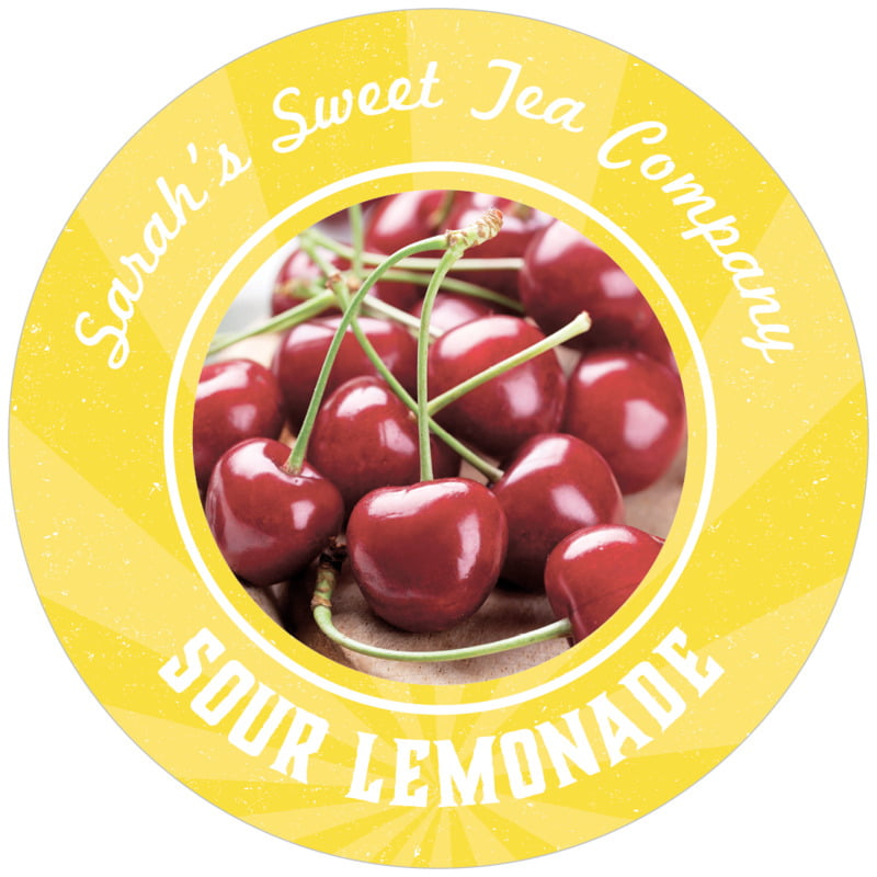 circle food/craft labels - yellow - lemonade stand (set of 12)