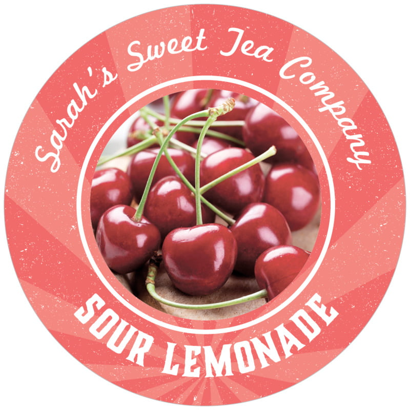 circle food/craft labels - deep coral - lemonade stand (set of 12)