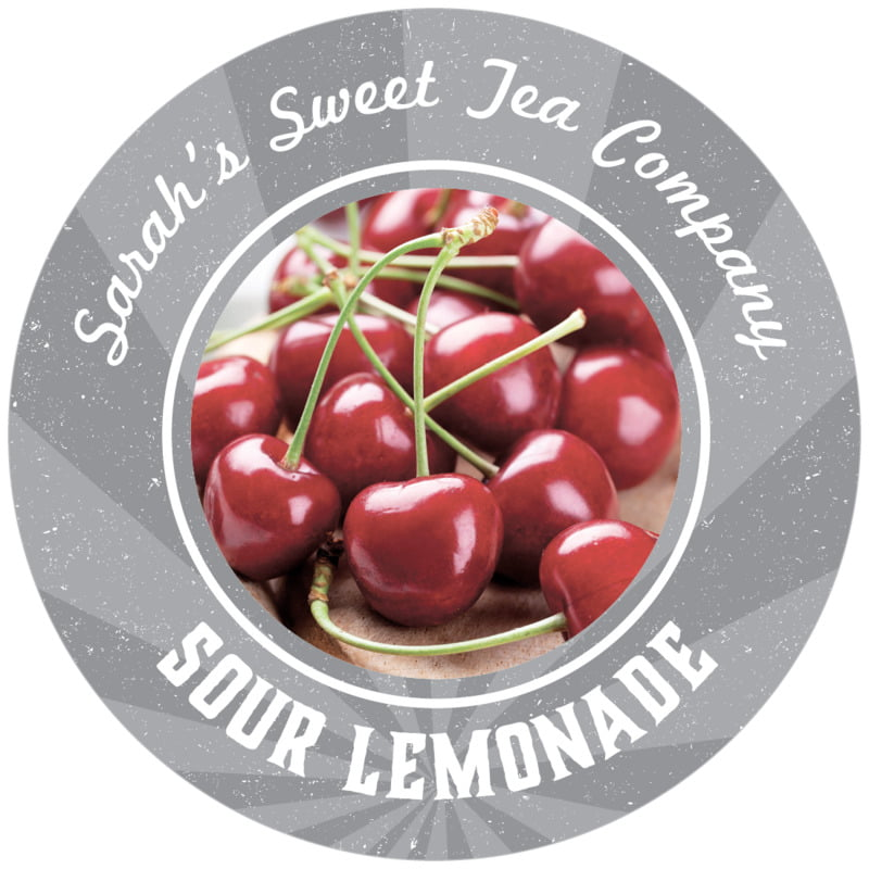 circle food/craft labels - grey - lemonade stand (set of 12)