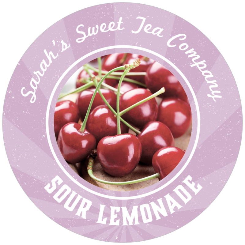 circle food/craft labels - lilac - lemonade stand (set of 12)