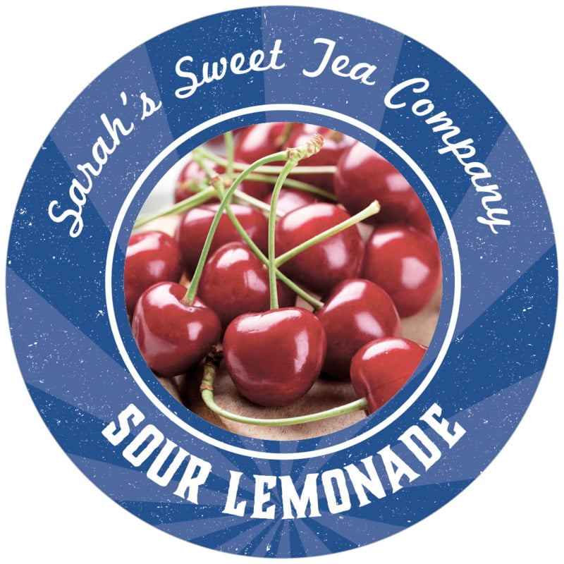 circle food/craft labels - deep blue - lemonade stand (set of 12)