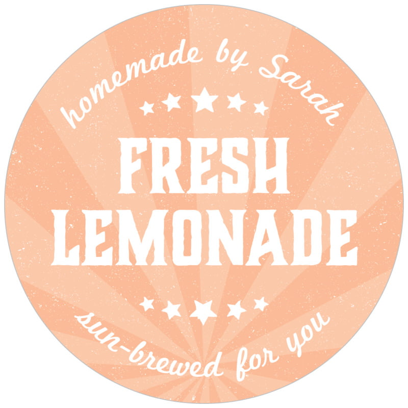 circle food/craft labels - peach - lemonade stand (set of 20)