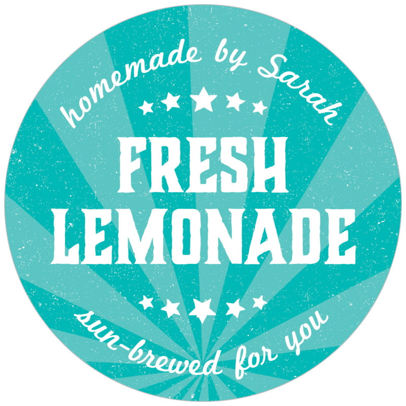 circle food/craft labels - turquoise - lemonade stand (set of 20)