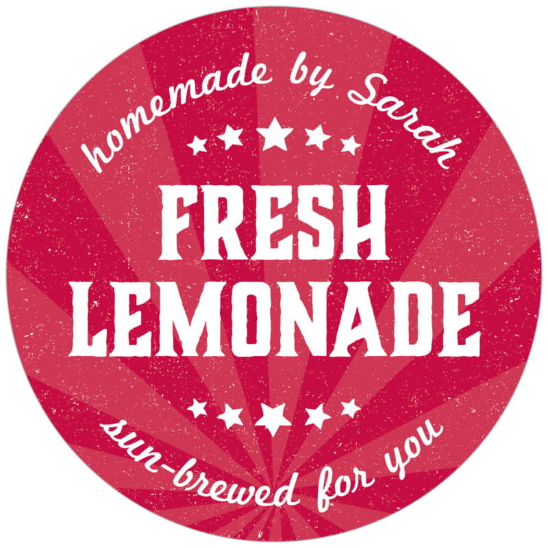 circle food/craft labels - red - lemonade stand (set of 20)