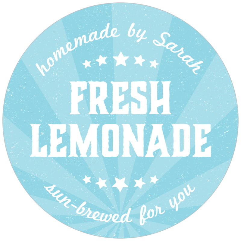 circle food/craft labels - blue - lemonade stand (set of 20)