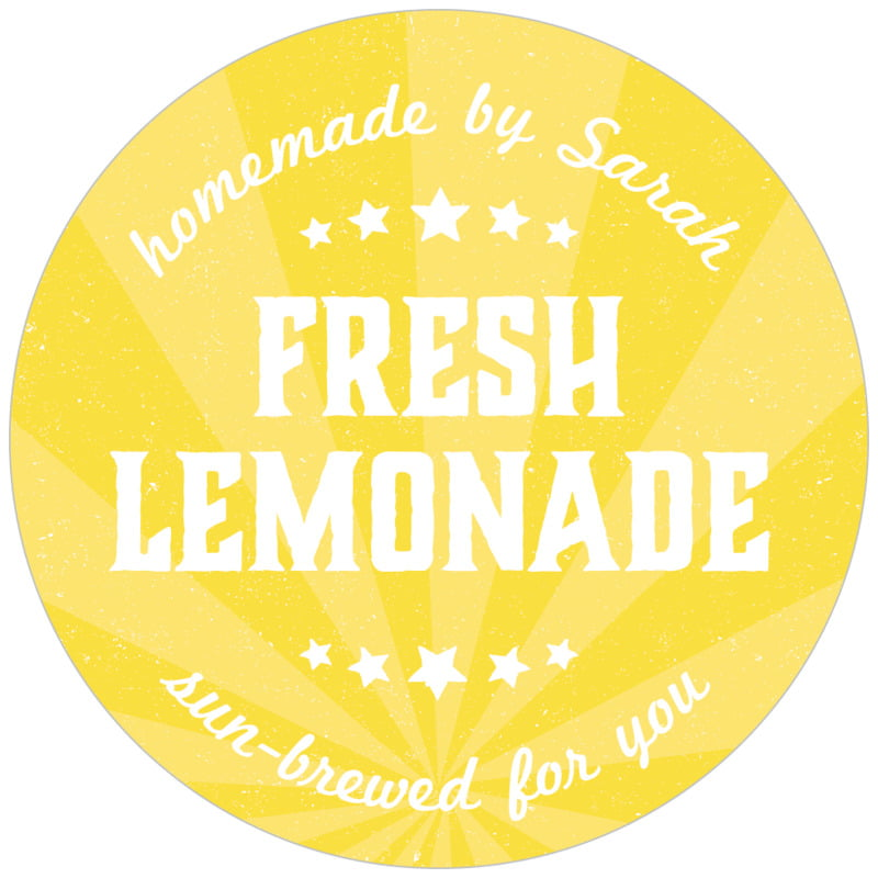 circle food/craft labels - yellow - lemonade stand (set of 20)