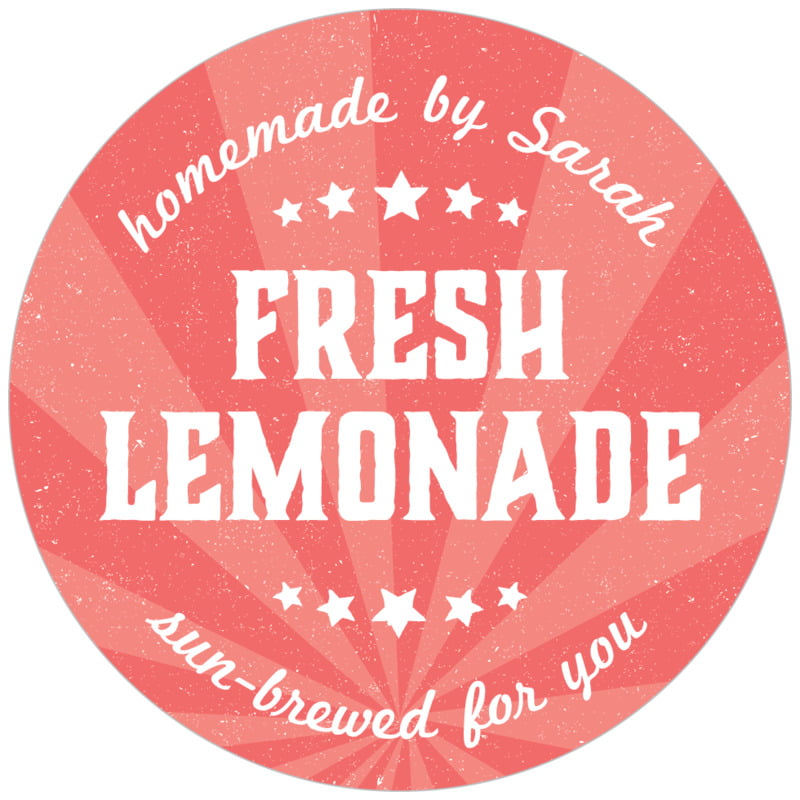 circle food/craft labels - deep coral - lemonade stand (set of 20)