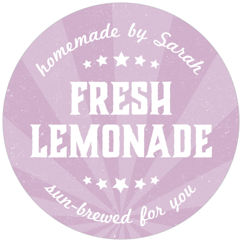 circle food/craft labels - lilac - lemonade stand (set of 20)