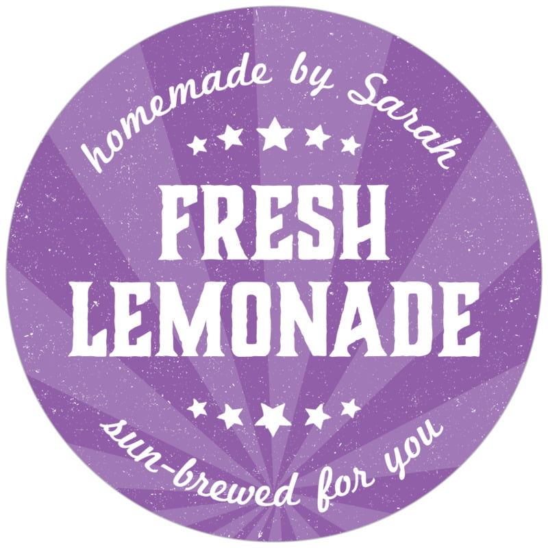 circle food/craft labels - plum - lemonade stand (set of 20)