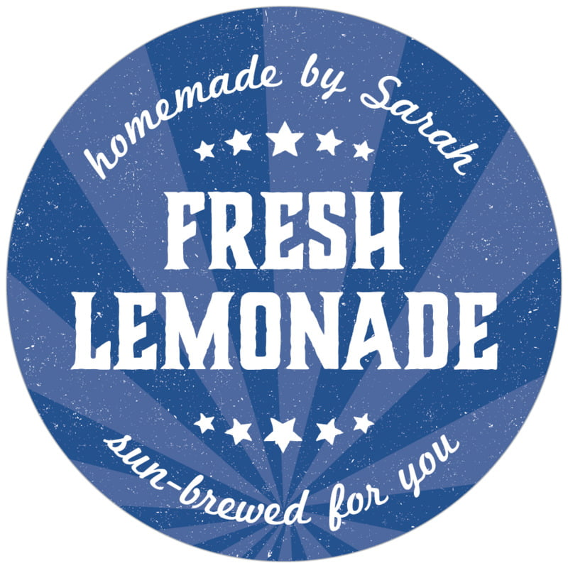 circle food/craft labels - deep blue - lemonade stand (set of 20)