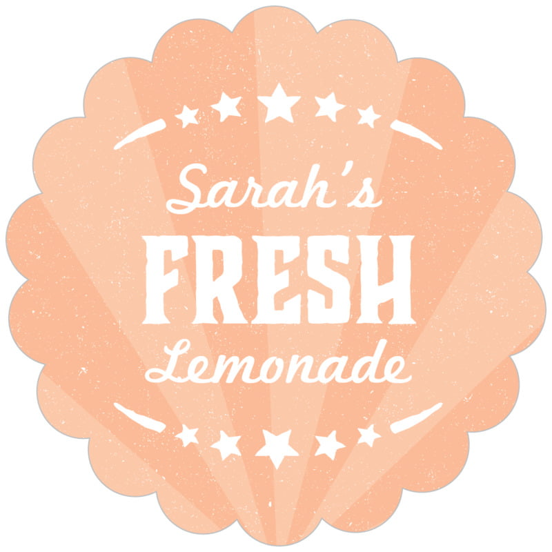 scallop food/craft labels - peach - lemonade stand (set of 20)