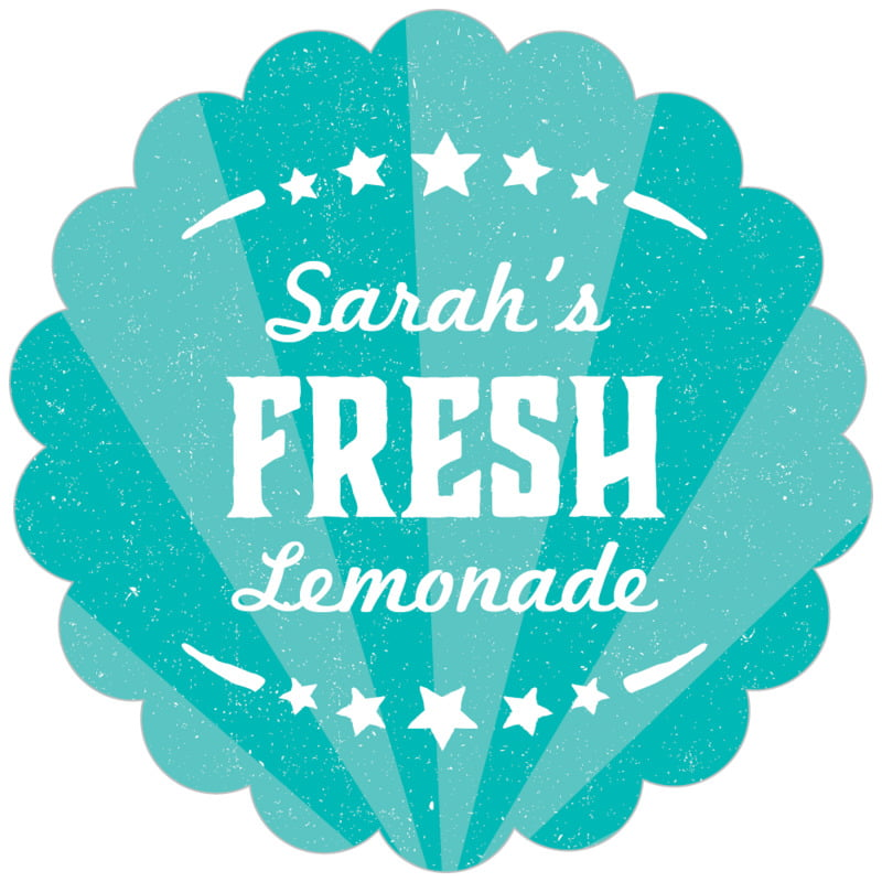 scallop food/craft labels - turquoise - lemonade stand (set of 20)