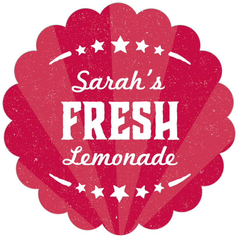 scallop food/craft labels - red - lemonade stand (set of 20)