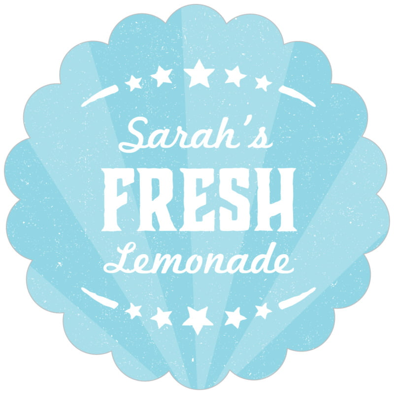 scallop food/craft labels - blue - lemonade stand (set of 20)