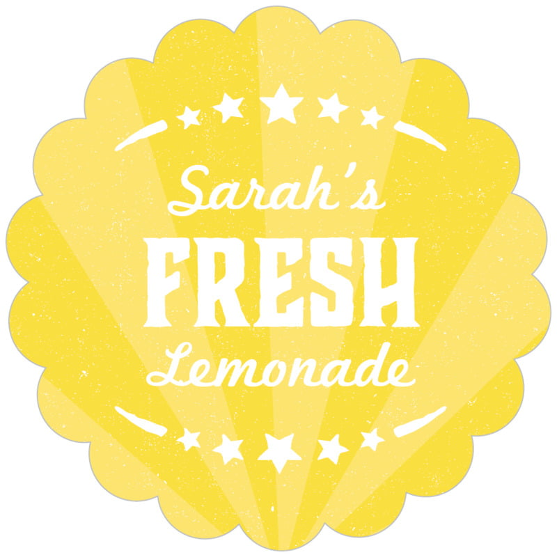 scallop food/craft labels - yellow - lemonade stand (set of 20)
