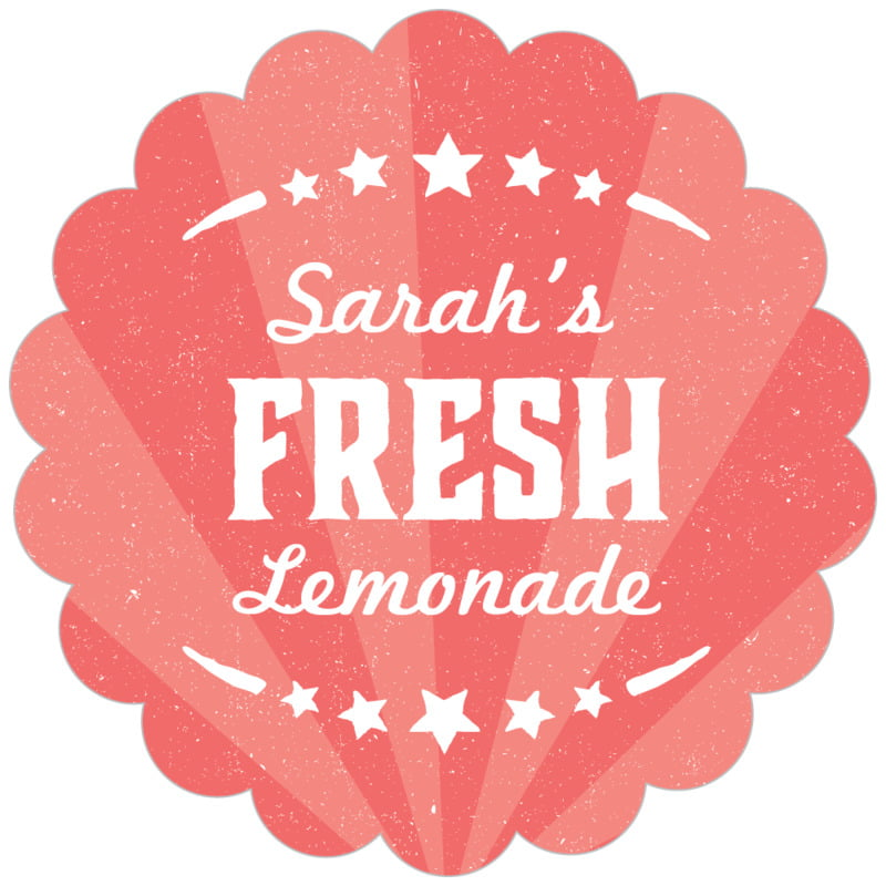 scallop food/craft labels - deep coral - lemonade stand (set of 20)