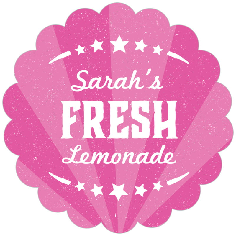 scallop food/craft labels - bright pink - lemonade stand (set of 20)