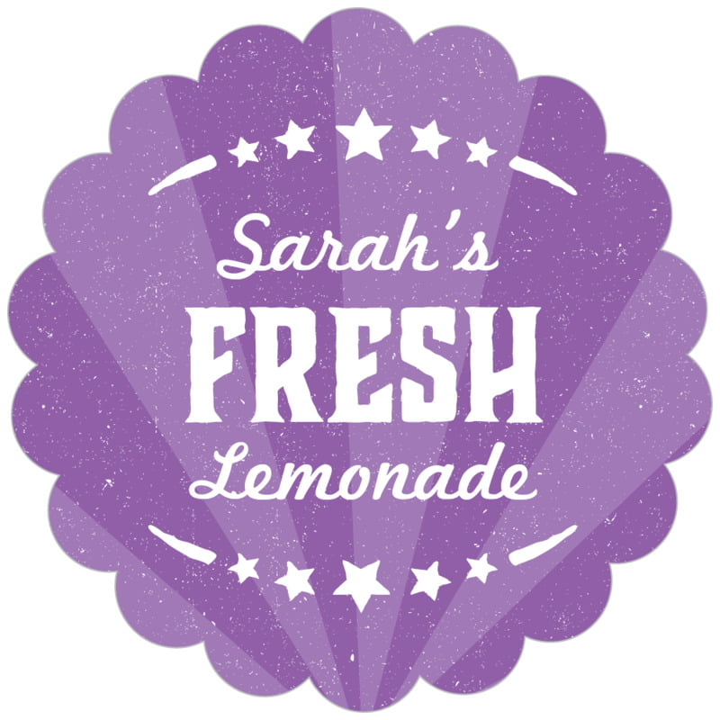 scallop food/craft labels - plum - lemonade stand (set of 20)